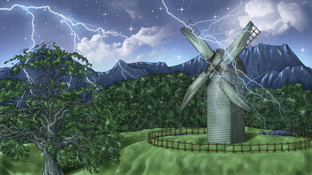 Windmill landscape with lightning