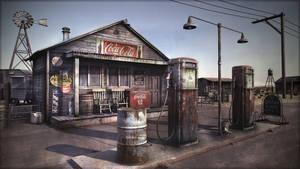 Desert gas station by Omessler