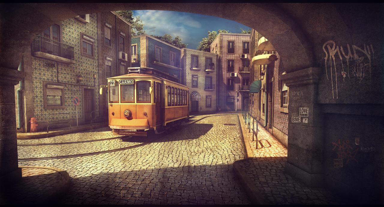 Lisbon tram by Omessler