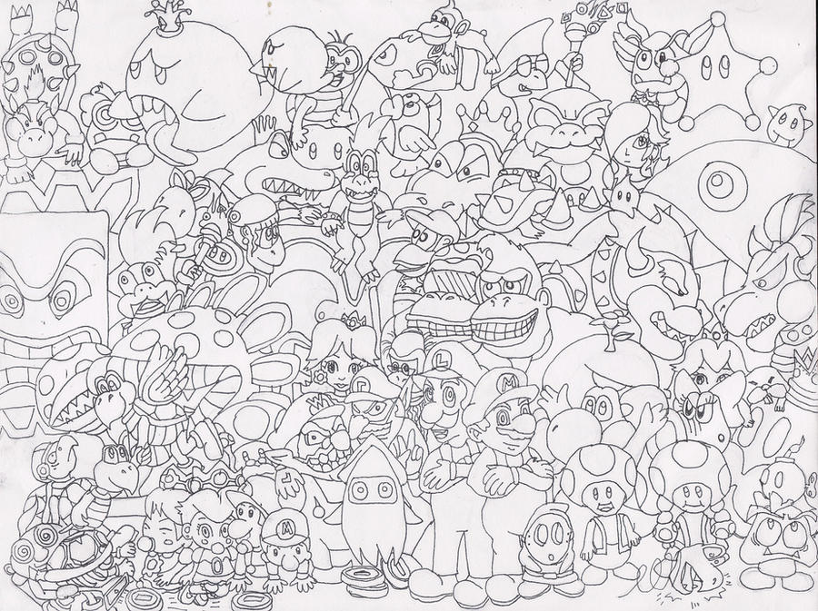 Line Art Group : Mario group line art by brainspewage on deviantart
