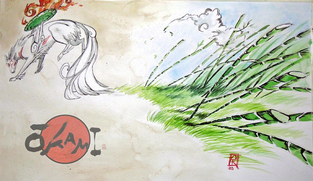 Okami in Watercolors by DragonSpirit469