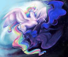 Sun and Stars - Celestia and Luna by DragonSpirit469