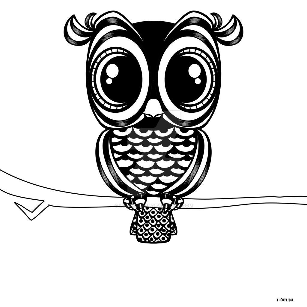 Line Art Owl : Owl on a branch line art by luckylisa deviantart