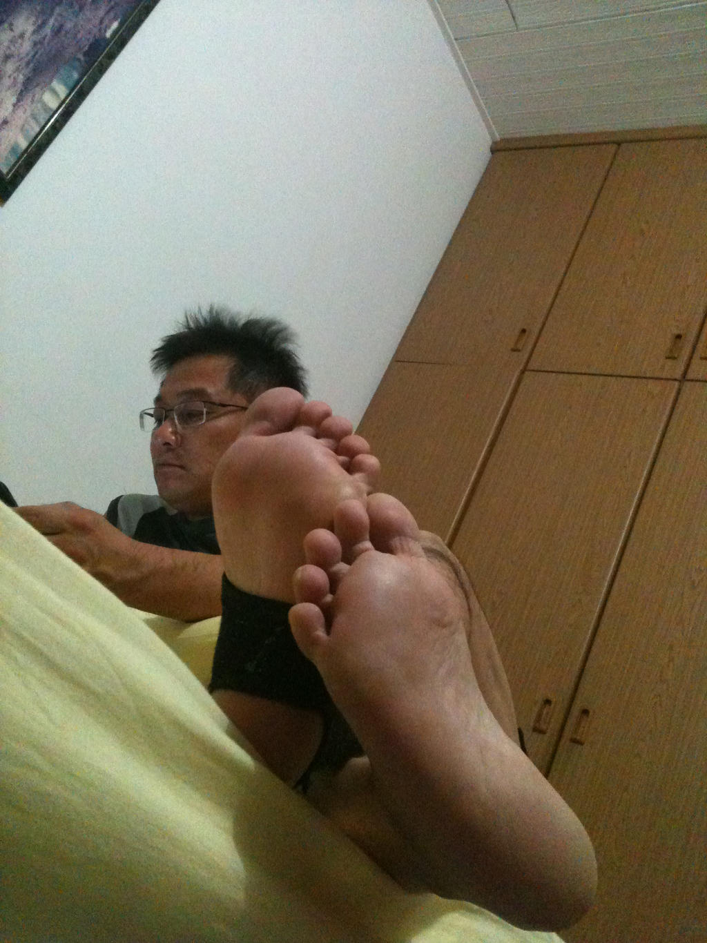 Feet room licked across toes dad