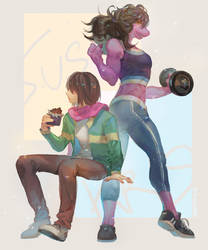 Deltarune- Susie and Kris by christon-clivef