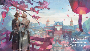 Commission- Cherry blossoms Moyr and Gabe