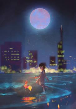 Full moon and lantern