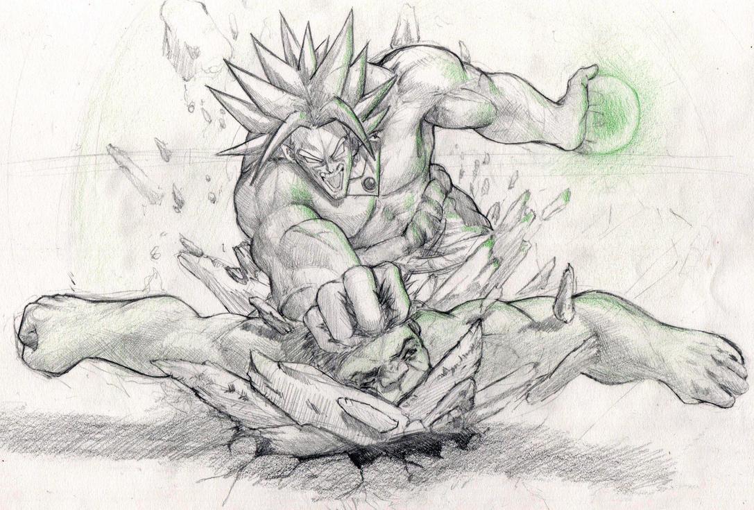 Broly vs Hulk by giammangiato