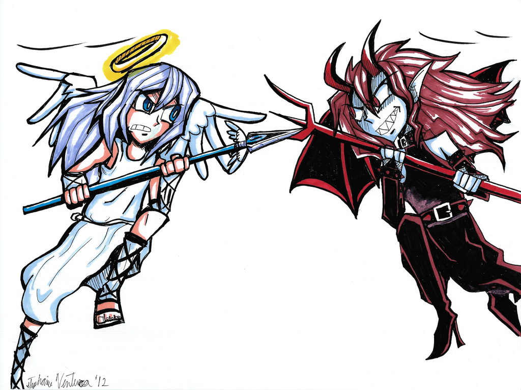 Angel VS Devil by Sakura-wind