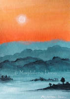 Fiery fullmoon over hazy valleys by Maggielet