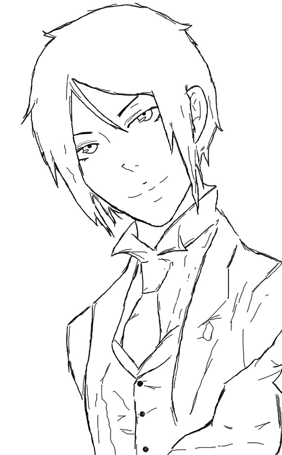 sebastian michaelis outline will add color by crimsonfange - Black Butler Chibi Coloring Pages
