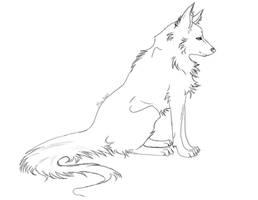 Wolf lineart by Miu-Nebit