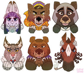 Golden Kamuy animals by Commodore-Pompadour