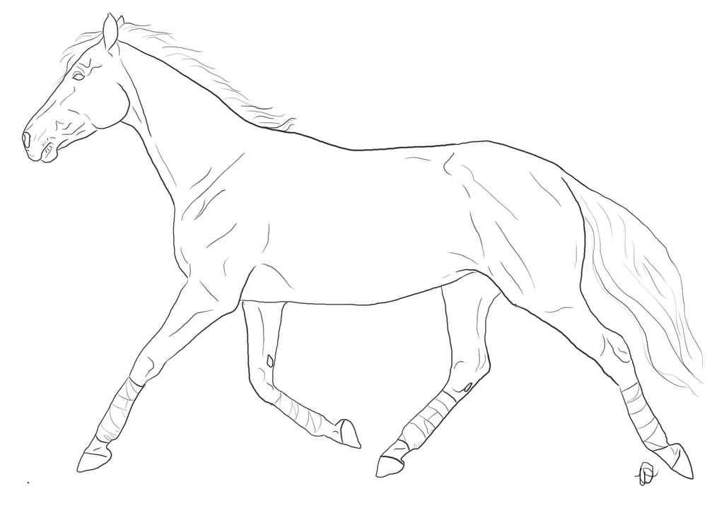 Trotting Warmblood Lineart by StarSnip on DeviantArt