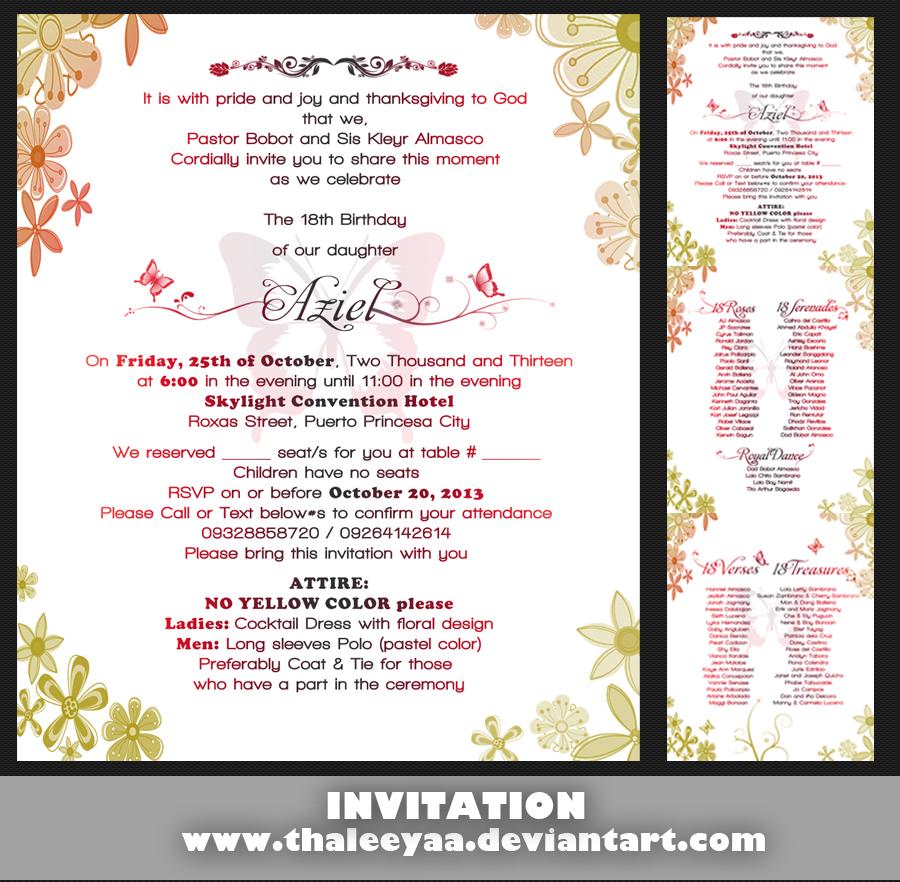 Debut invitation by thaleeyaa on deviantart debut invitation by thaleeyaa stopboris Images