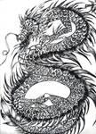 Black white dragon ink