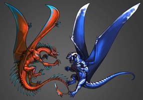 Dragon Battle by KaiserFlames