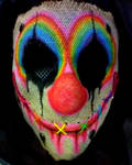 Rainbow Burlap Clown Mask
