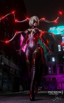 Cyberpunk nightspider 2b from Nier Automata
