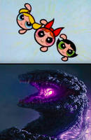 Powerpuff Girls Facing Off Against Shin Gojira by JapaneseGodzilla1954