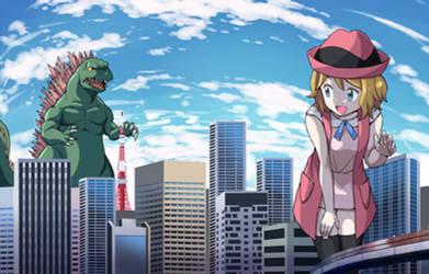 Serena Meets Godzilla In Tokyo