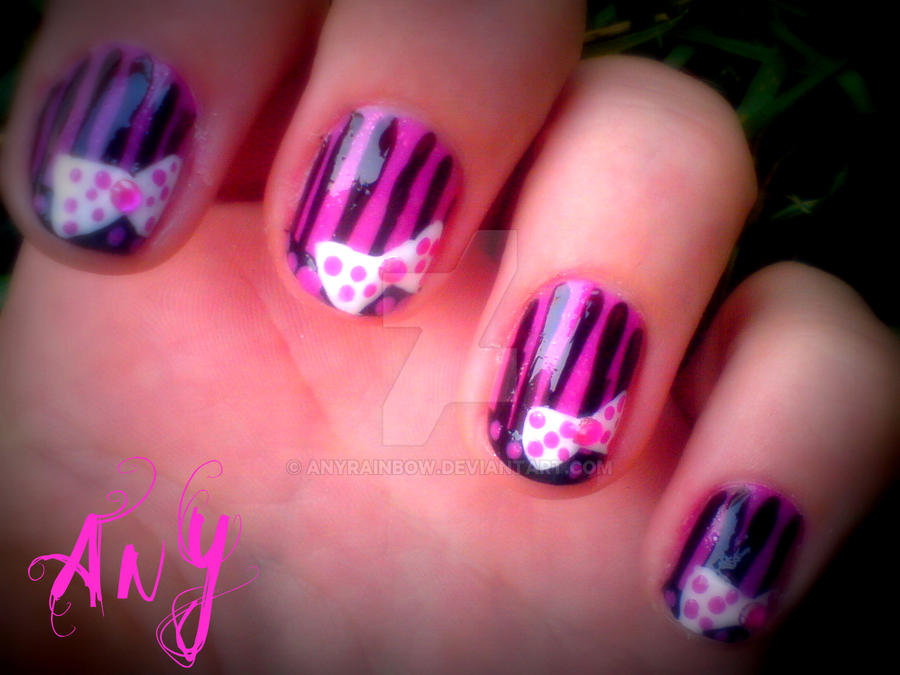 Pink Bow Nail Design by AnyRainbow