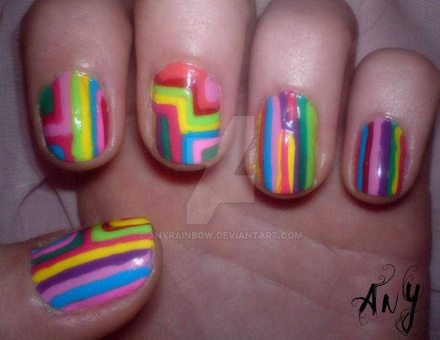 Colorful Nail Design by AnyRainbow