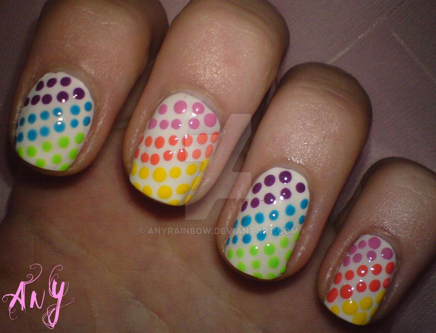 Rainbow Dots Nail Design by AnyRainbow