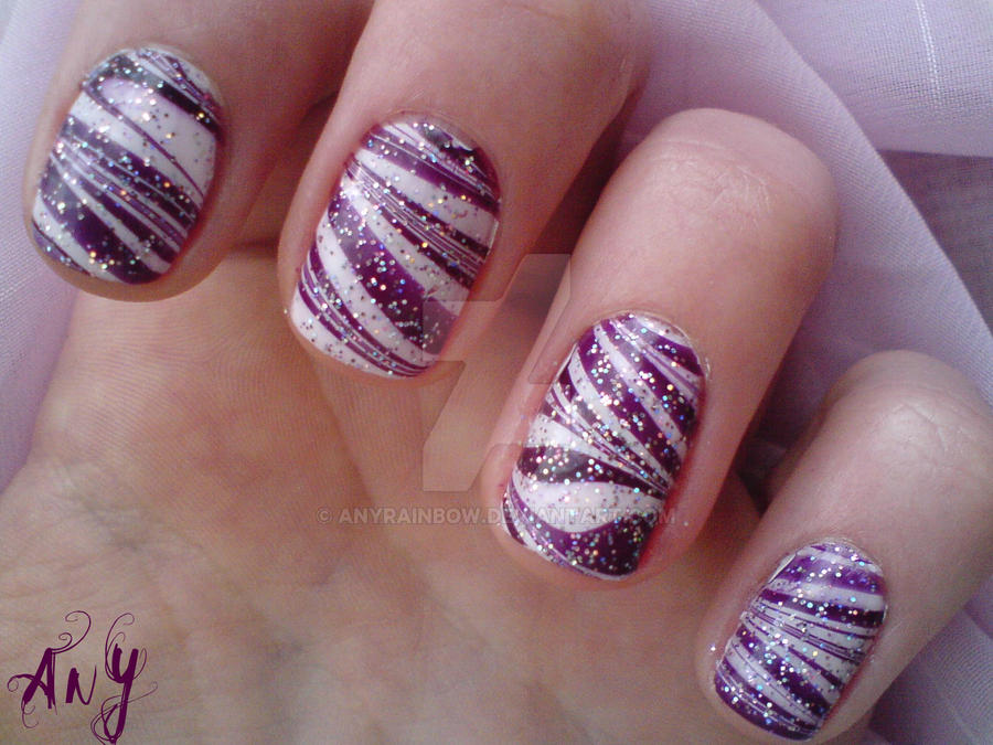Purple Water Marble Nail Design By Anyrainbow On Deviantart