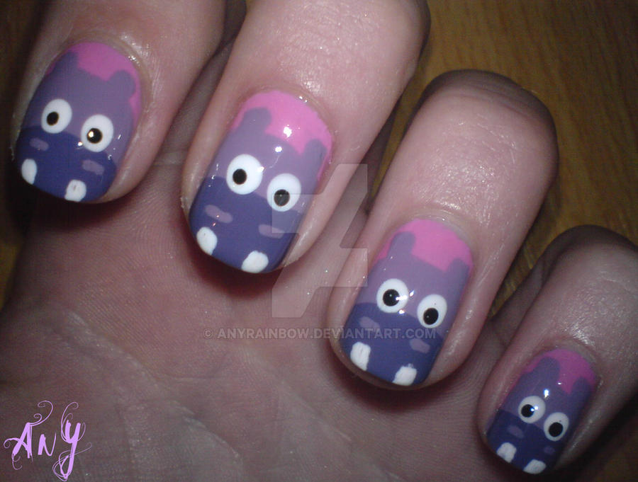 Hippo Nail Design by AnyRainbow