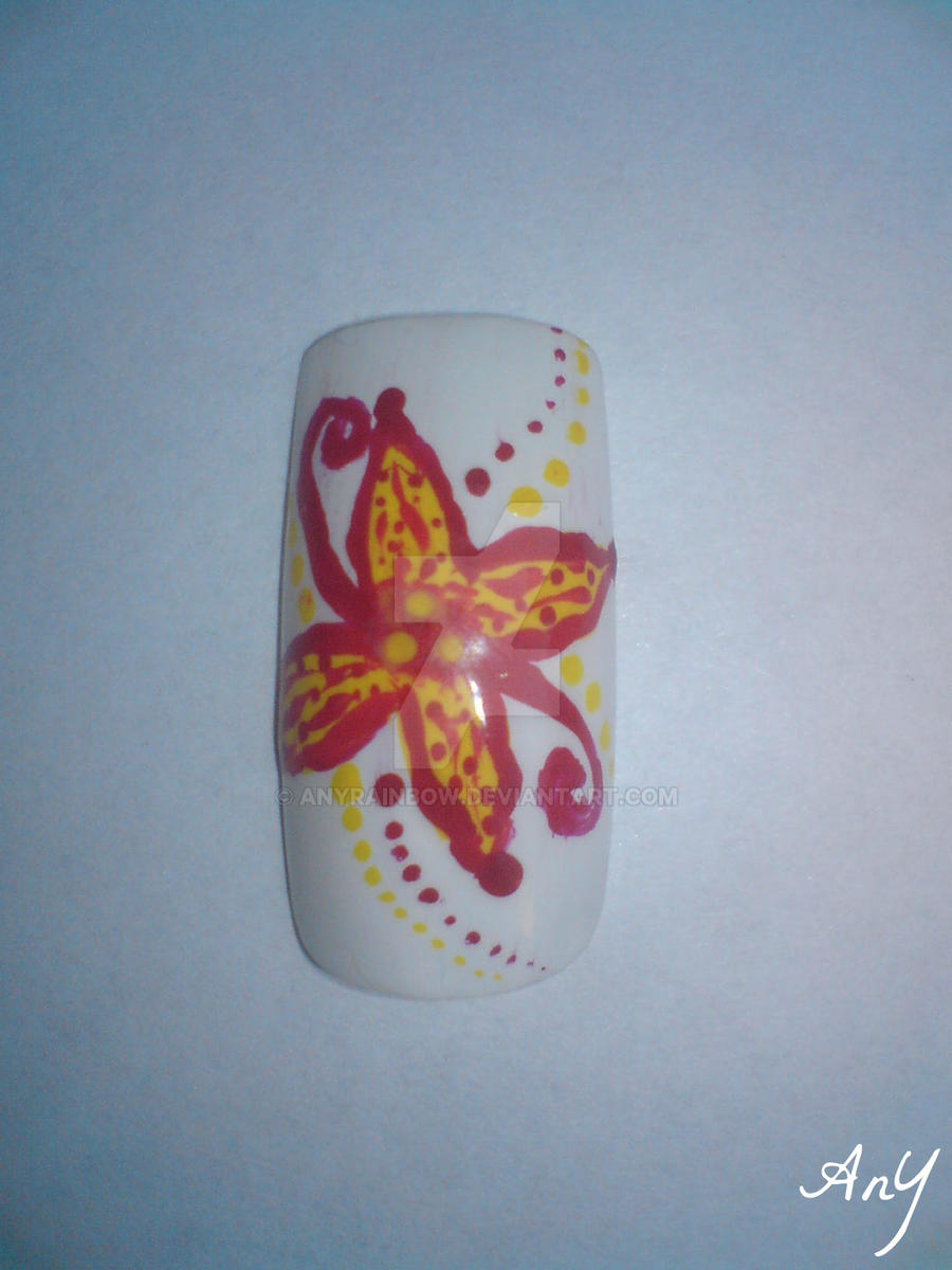 Yellow Flower Nail Design by AnyRainbow