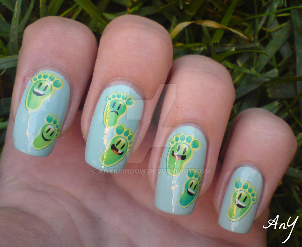 Green Feet Nail Design by AnyRainbow