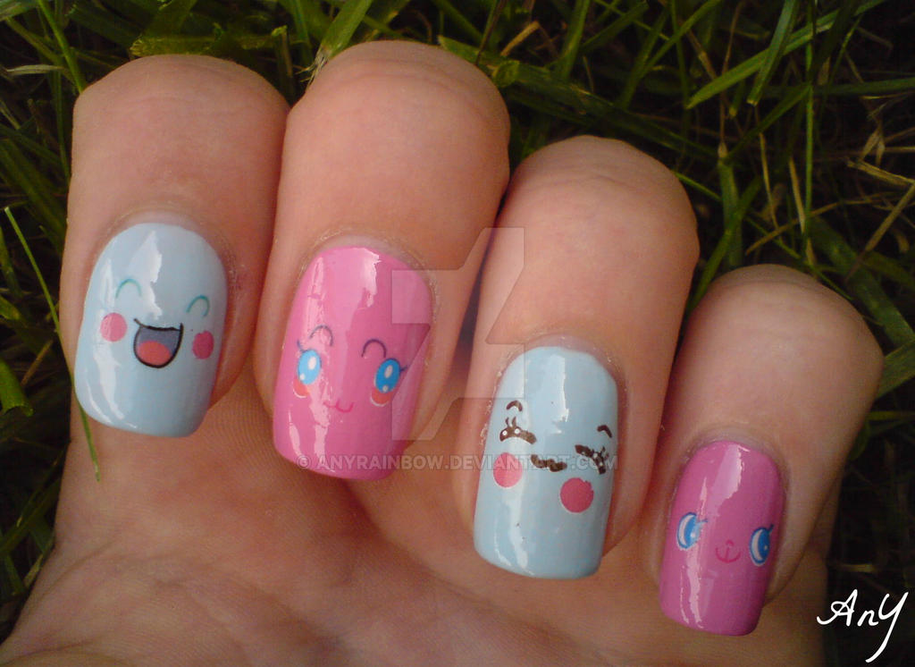 Kawaii Faces Nail Design by AnyRainbow on DeviantArt