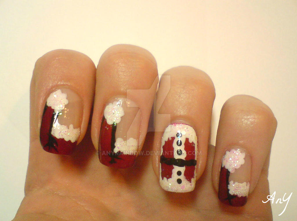 Santa's Hat Nail Design by AnyRainbow