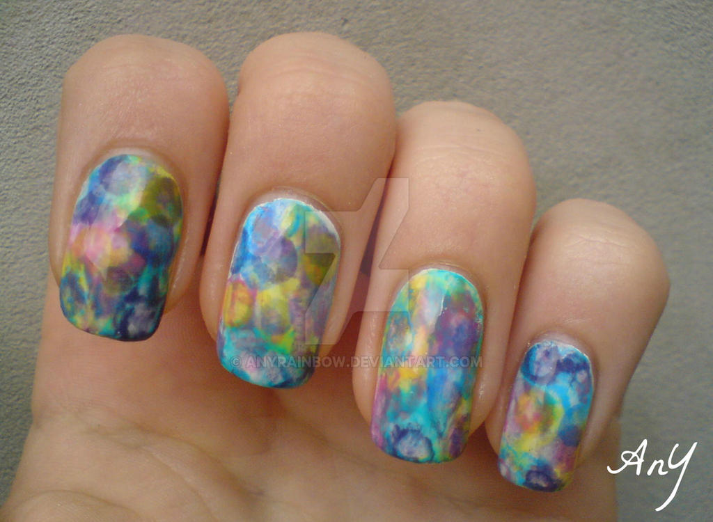 Watercolor Nail Design by AnyRainbow