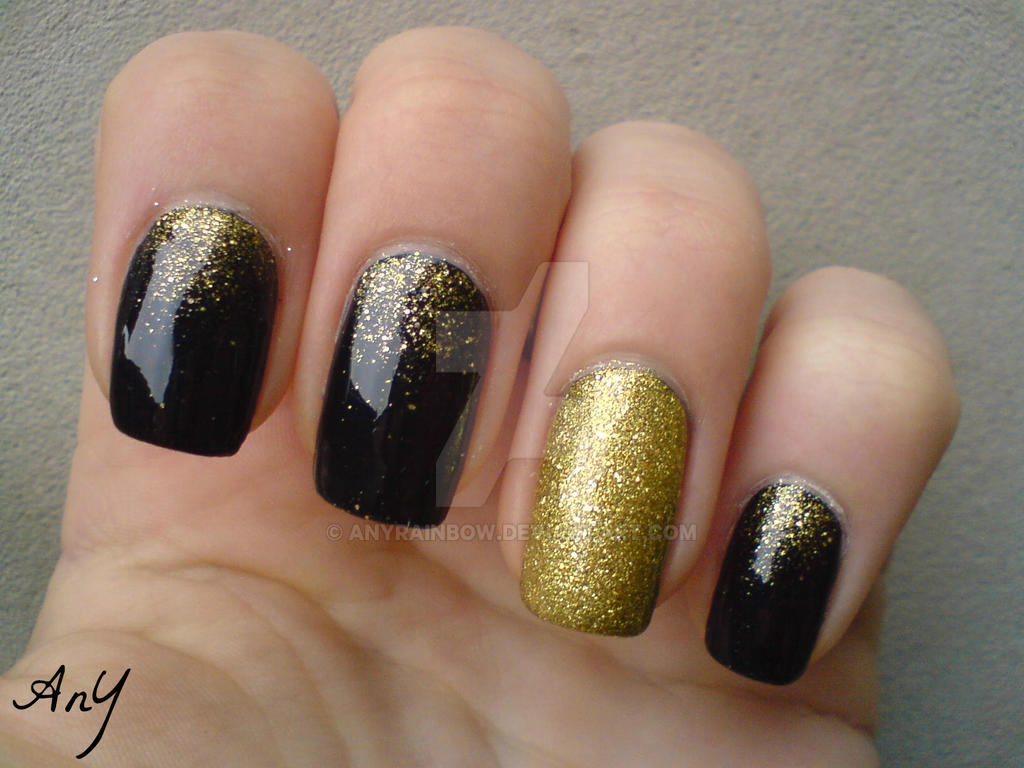 Navy Blue And Gold Nail Elegance by AnyRainbow on DeviantArt