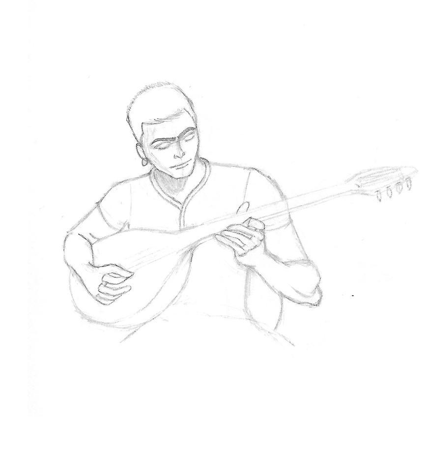 Playing a baglama by Gemrix