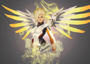 Mercy, Overwatch Speed Painting by enchantedbluedragon