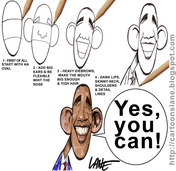 How to Draw Obama Cartoon by CartoonsLane on DeviantArt