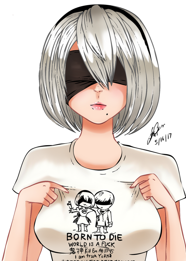Sketch 25 - 2B with her new T-shirt by Manhunterj