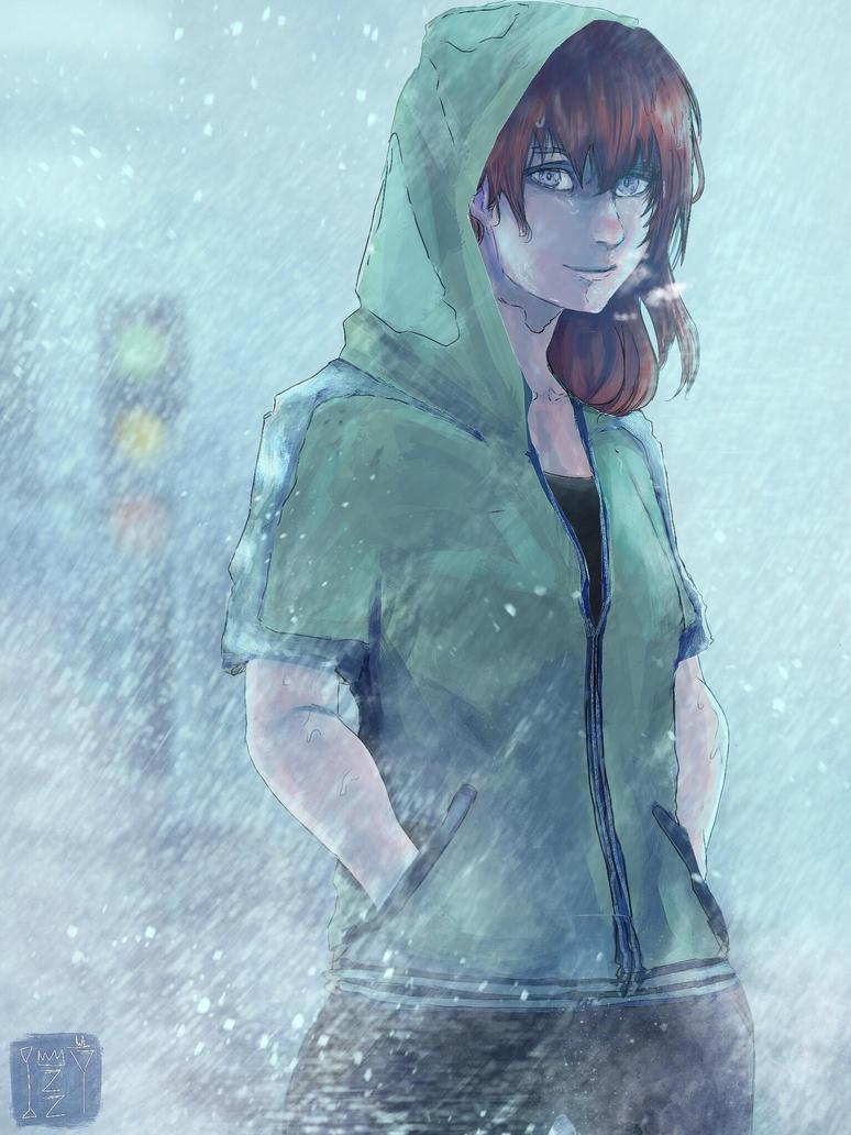 Rainy Walk (Redraw for No Umbrella) by sapphire22crown
