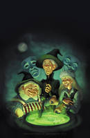 Terry Pratchett Wyrd Sisters cover illustration. by katea
