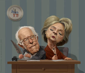 Bernie and Hillary by katea