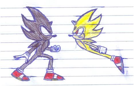 Dark Sonic vs Super Sonic by Camunon on DeviantArt