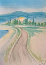Watercolour landscape - wet on wet test