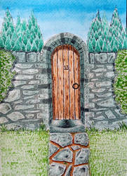 What's behind the gate? (Watercolour)