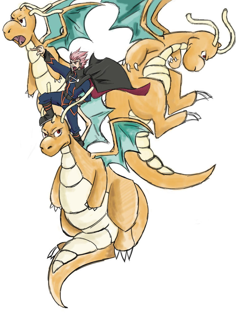 Hacker Champion Lance and His 3 Dragonites by SuperArtNinja