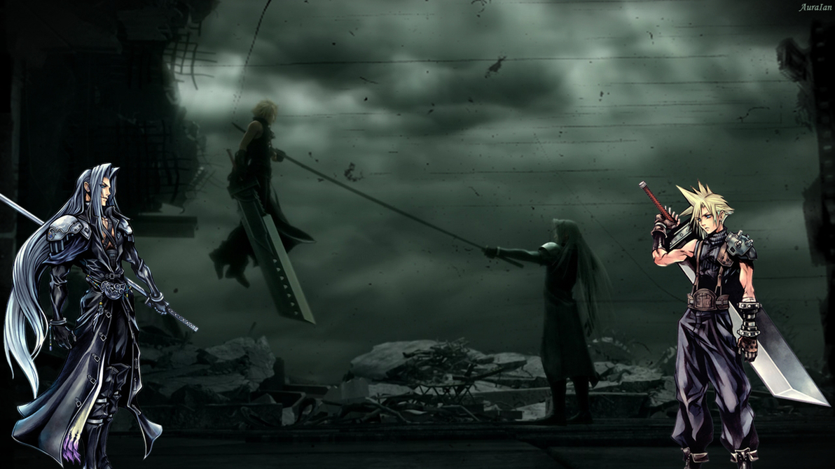 Cloud and Sephiroth by AuraIan