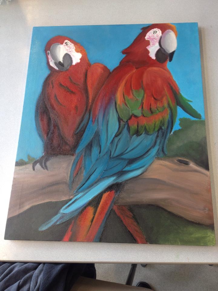 Oil Painting Parrots by jellitot