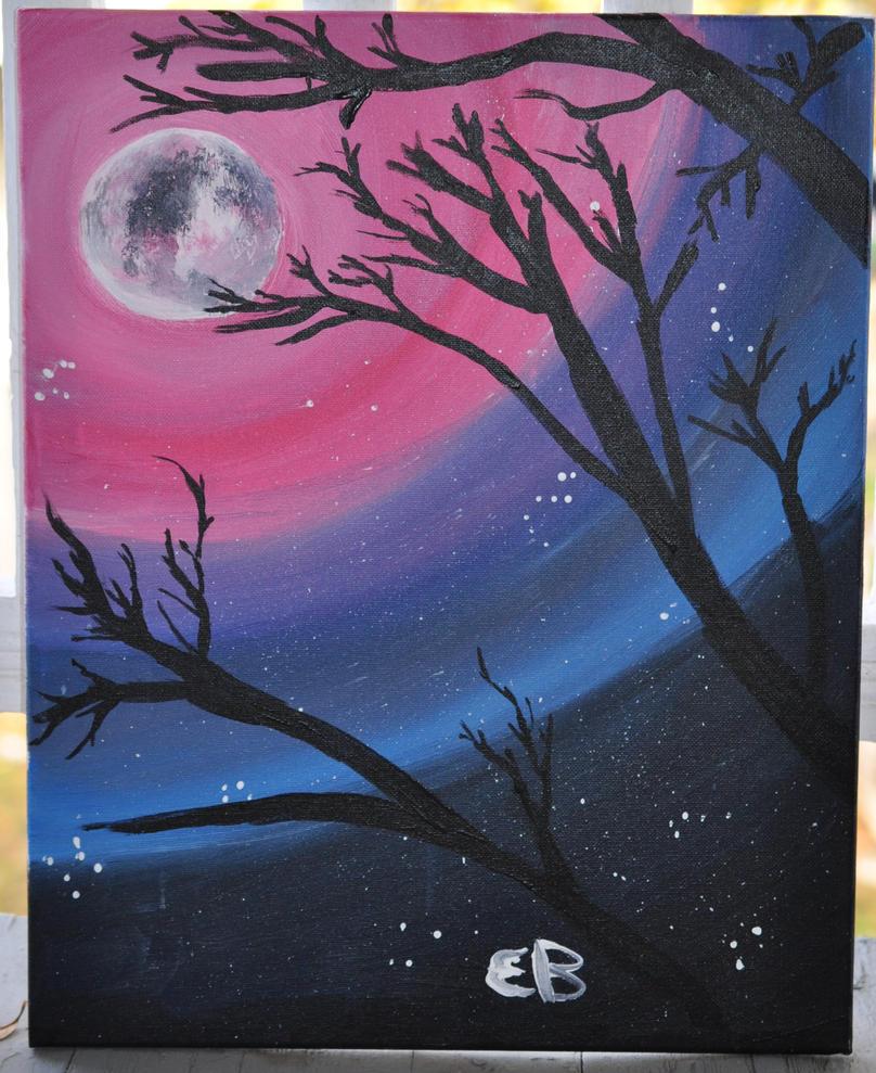 Sunset moon by unordinalwhimsey